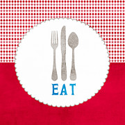Restaurant Cafe Prints - Eat Print by Linda Woods
