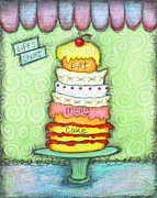 Cupcake Love Posters - Eat More Cake Poster by Joann Loftus