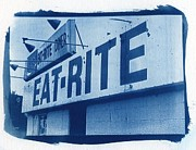 Blueprint Photo Prints - Eat Rite Cyanotype Print by Jane Linders