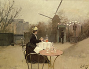 Signed Metal Prints - Eating Al Fresco Metal Print by Ramon Casas i Carbo