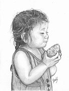 Lew Davis Drawings Framed Prints - Eating Coconut Framed Print by Lew Davis