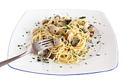 Spaghetti Noodles Prints - Eating Spaghetti With Clams  Print by Antonio Scarpi