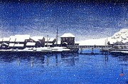 Snowfall Paintings - Ebisu Port by Pg Reproductions