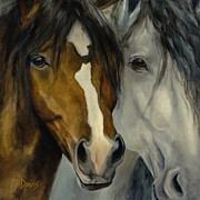 Horse Head Paintings - Ebony and Ivory by Catherine Davis