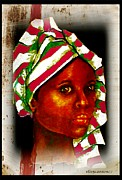 Headwrap Framed Prints - Ebony II Framed Print by Ellen Cannon
