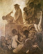 Jesus Painting Framed Prints - Ecce Homo Framed Print by Honore Daumier