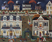 Autumn Folk Art Paintings - Echoes of Trick or Treat by Catherine Holman