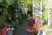 Alleys Posters - Eclectic Alley Garden In Downtown Sonoma California 5D24466 Poster by Wingsdomain Art and Photography