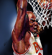 Bulls Painting Posters - Eclipsing The Moon - Jordan  Poster by Reggie Duffie