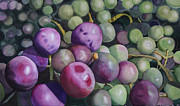 Purple Grapes Framed Prints - Eco 10 Framed Print by Cathy Ehrler