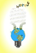 Sources Posters - Eco light bulb  Poster by Rudy Umans