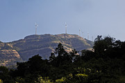 Going Green Prints - Eco power windmills Maharashtra Print by Kantilal Patel