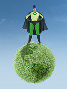 Awareness Posters - Eco superhero and green planet Poster by Roman Milert