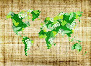 Vintage Map Digital Art - Ecology world map by Delphimages Photo Creations