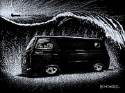 Scratchboard Drawings - Econoline Wave II by Bomonster