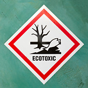 Mounted Fish Prints - Ecotoxic hazard symbol warning sign Print by Stephan Pietzko
