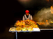 Food Vendors Prints - Ecuador Street Meat Vendors Print by Al Bourassa
