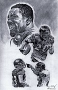Pro Football Drawings Posters - Ed Reed Poster by Jonathan Tooley