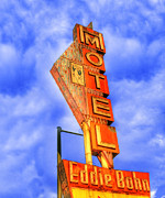 Eddie Posters - Eddie Bohns Pig N Whistle Motel Sign Poster by Juli Scalzi