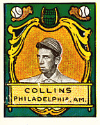 Baseball Art Framed Prints - Eddie Collins Philadelphia Athletics Baseball Card 1025 Framed Print by Wingsdomain Art and Photography