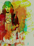 Rock Star Painting Prints - Eddie Van Halen Print by Irina  March