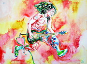 Van Halen Painting Prints - EDDIE VAN HALEN PLAYING and JUMPING watercolor portrait Print by Fabrizio Cassetta