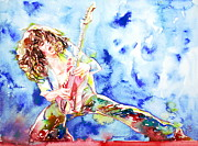 Guitar Player Paintings - EDDIE VAN HALEN PLAYING the GUITAR.1 watercolor portrait by Fabrizio Cassetta