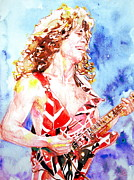 Van Halen Art - EDDIE VAN HALEN PLAYING the GUITAR.2 watercolor portrait by Fabrizio Cassetta