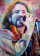 Celebrities Framed Prints - Eddie Vedder in Pink and Blue Framed Print by Joshua Morton