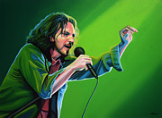 Concert Painting Framed Prints - Eddie Vedder of Pearl Jam Framed Print by Paul  Meijering