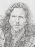 Pearl Jam Drawings Prints - Eddie Vedder Print by Olivia Schiermeyer