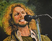 Singer Painting Framed Prints - Eddie Vedder Framed Print by Shirl Theis