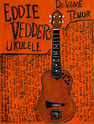 Pearl Jam Paintings - Eddie Vedder Ukulele by Karl Haglund