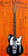 Fender Telecaster Framed Prints - Eddie Vedders Telecaster Framed Print by Karl Haglund