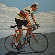 Cycling Art Paintings - Eddy Merckx by Paul Meijering