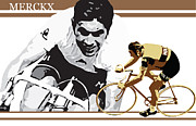 Sassan Filsoof Posters - Eddy Merckx Poster by Sassan Filsoof
