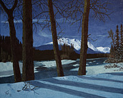 Snowy Night Painting Posters - Eddy Park Moonlight Poster by Ted Widen