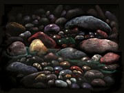 Pebbles Pastels Prints - Eden Brook Stones Print by Linda Seifried