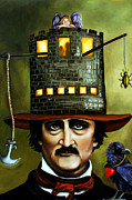 Narrative Portrait Prints - Edgar Allan Poe Edit 1 Print by Leah Saulnier The Painting Maniac