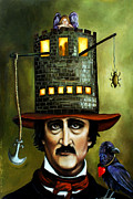 Narrative Portrait Prints - Edgar Allan Poe edit 2 Print by Leah Saulnier The Painting Maniac