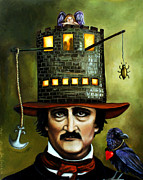 Poe Framed Prints - Edgar Allan Poe edit 3 Framed Print by Leah Saulnier The Painting Maniac