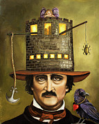 Surrealism Portrait Posters - Edgar Allan Poe Poster by Leah Saulnier The Painting Maniac