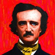 Edgar Allen Poe Metal Prints - Edgar Allan Poe - Painterly - Square Metal Print by Wingsdomain Art and Photography