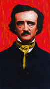 Edgar Alan Poe Metal Prints - Edgar Allan Poe - Painterly Metal Print by Wingsdomain Art and Photography