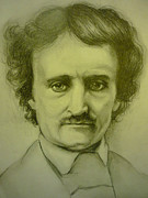 Poe Drawings - Edgar Allan Poe Pencil Sketch by June Ponte