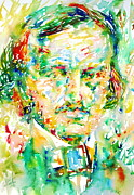 Poe Metal Prints - Edgar Allan Poe Watercolor Portrait.1 Metal Print by Fabrizio Cassetta
