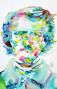 Watercolors Painting Originals - Edgar Allan Poe Watercolor Portrait.2 by Fabrizio Cassetta