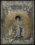 Distraught Prints - Edgar Allen Poe The Raven Cover  Print by Pierpont Bay Archives