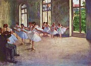 Degas Paintings - Edgar Degas Ballet Rehearsal 1873 by Pg Reproductions