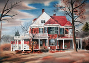 White Frame House Mixed Media Prints - Edgar Home Print by Kip DeVore